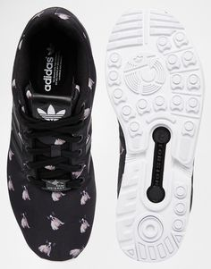 Image 3 of adidas Originals x Rita Ora French Bull Dog Print ZX Flux Trainers