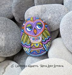 Small Indian Owl Magnet Hand Painted Pebble by RockArtAttack