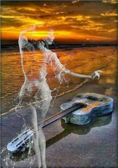 The Music Center. Tips And Tricks To Learning The Guitar. It can be great to learn guitar. Double Exposition, Exposition Multiple, Art Plage, Best Guitar Players, Romantic Pictures, Beach Art, Sunset Beach, Double Exposure, Fantasy Art