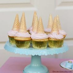 Coat cones in white chocolate and add edible glitter or colorful sprinkles and use as Unicorn Horn cupcakes!