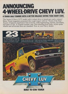 1979 Chevy Luv Pickup Truck Ad Chevrolet 4-Wheel by AdVintageCom
