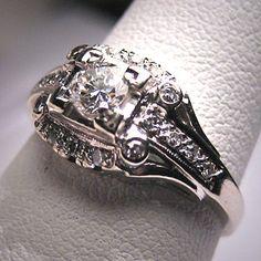 Antique Diamond Wedding Ring Vintage Art Deco by AawsombleiJewelry, $3285.00