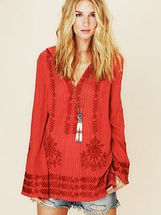 Want: Stripe Hooded Embroidered Tunic