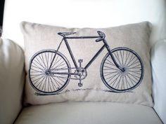 Bicycle Pillow Cover, Mens Bike Lumbar Pillow, Bike Cushion, Black Vintage Bicycle Print on Three Fabrics, One 12 x 16 or 12 x 18