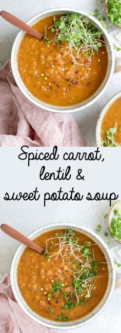 This spiced carrot lentil and sweet potato soup is a. This spiced carrot lentil and sweet potato soup is a satisfying healthy soup that is filled with warming flavours of ginger and turmeric. Its like a hug in a bowl! Lentil Recipes, Healthy Soup Recipes, Vegetarian Recipes, Cooking Recipes, Fruit Recipes, Cooking Ideas, Vegetarian Barbecue, Barbecue Recipes, Vegetarian Cooking