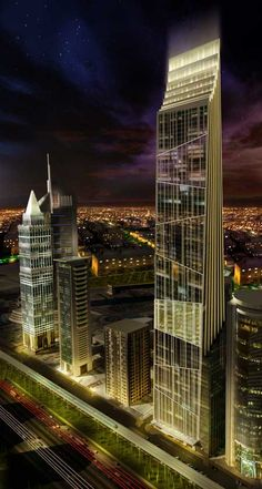 P 17 Tower, Dubai by Atkins Architects :: 78 floors, height 379m