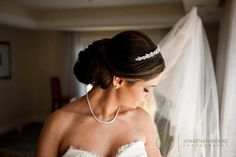 Bridal updo with a simple crystal or beaded headband Wedding Hair And Makeup, Hair Makeup, Ritz Carlton Laguna Niguel, Updo With Headband, Our Wedding, Dream Wedding, Multicultural Wedding, Bridal Updo, Bride Hairstyles