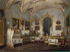"""Interiors of the Winter Palace. The White Drawing Room of Empress Alexandra Fyodorovna"". by Edward Petrovich Gau (1807-1887)"