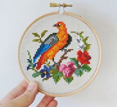 Two small birds 3 cross stitch pattern little berlin woolwork needlework chart hoop Digital format PDF floral vintage retro victorian rose Small Cross Stitch, Cute Cross Stitch, Cross Stitch Flowers, Cross Stitch Designs, Cross Stitch Embroidery, Embroidery Patterns, Cross Stitch Patterns, Cross Stitch Collection, Vintage Cross Stitches