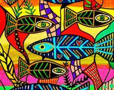 Canvas Painting Ideas for Beginners | Aqua Coral Fish' - SILBERZWEIG ORIGINAL PRINT - Mexican, Folk ...