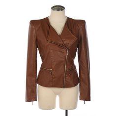 brown moto jacket.