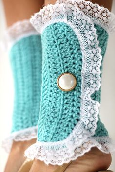 Victorian Fashion Leg Warmers in Aqua