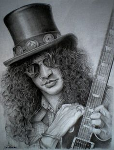 Slash by on DeviantArt – Celebrity Art – dibujo Celebrity Drawings, Celebrity Portraits, Guns N Roses, Pencil Drawings, Art Drawings, Pencil Art, Graphite Art, Rock Poster, Music Artwork
