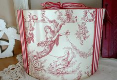 Red toile hat box