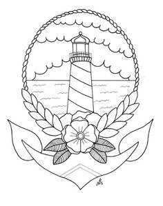 Lighthouse Tattoo Colouring/Reference Page Digital by napiks