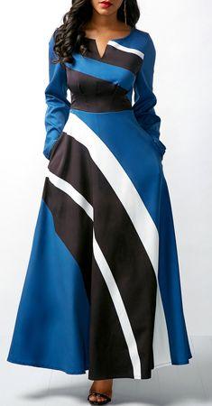Split Neck Long Sleeve High Waist Dress.