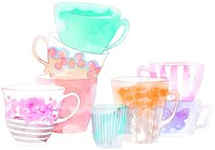 Pastel watercolour teacups | How about having a large teapot pouring tea into the teacups?