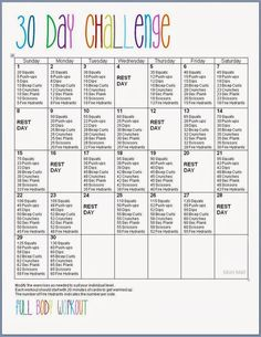 Free Printable: 30 Day Full Body Fitness Challenge {Abs, Thighs, Butt, Arms}: