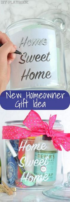 Diy Crafts - Want an easy DIY gift for a new homeowner? Fill a jar with all kinds of goodies . easy diy gifts Diy Crafts - Want an easy DIY gift for a new homeowner? Fill a jar with all kinds of good. Easy Diy Gifts, Homemade Gifts, Nouveau Propriétaire, Personalized Housewarming Gifts, Housewarming Party, New Homeowner Gift, Gifts For New Homeowners, Thoughtful Gifts For Him, Diy Simple