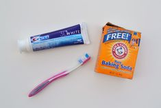 Here's what to do: Mix 1 part baking soda, 1 part toothpaste (any kind), and 2 parts water. I used a spoonful of each in a glass and mixed it all up with my toothbrush. Brush with the solution continuously until it is all gone. You can do this once a week until you get your teeth to the desired shade and then limit it to once a month.