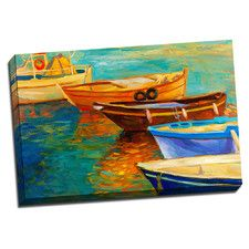 Boat 5 Boats Colorful Painting Print on Wrapped Canvas