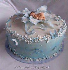 Trendy Baby Shower Cake For Boys Cupcakes Girls Ideas - Baby Showers - Kuchen Fondant Baby Torte, Cupcake Cakes, Baby Cake Topper, Cake Fondant, 3d Cakes, Fondant Figures, Cake Mold, Pretty Cakes, Cute Cakes