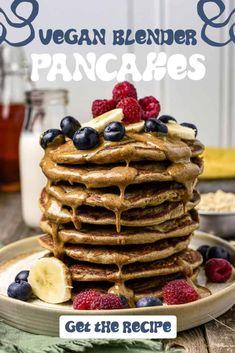 Vegan Banana Oat Blender Pancakes are delicious and so easy to make! No flour, no eggs, and no dairy. A recipe the whole family will love. #easyrecipes #healthyrecipe #VeganRecipe #plantbased Banana Pancakes No Flour, Vegan Pancakes, Vegan Banana Bread, Banana Oats, Sweet Recipes, Whole Food Recipes, How To Make Pancakes, Vegan Breakfast Recipes, Vegan Recipes