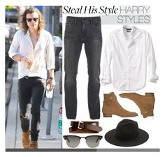 """""""Steal His Style: Harry Styles"""" by harleenqueen ❤ liked on Polyvore featuring Banana Republic, Yves Saint Laurent, Ray-Ban, Calvin Klein, Études, men's fashion, menswear, harrystyles, celebstyle and CelebrityStyle"""