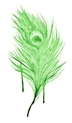 Green watercolor feather