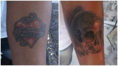 Cobertura feita com uma caveira. Adeus, Fran! #tattoo #coverup #skull #relationship