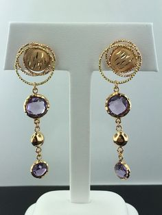 Lady's 18k rose gold genuine amethyst dangle stud earrings, from Italy in Jewelry & Watches, Fine Jewelry, Fine Earrings | eBay