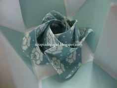 Rosa sachet em tecido(orinuno) e caixa cartão em origami