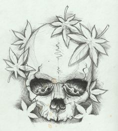 Skull Sketch With Japanese Maple Leaves.