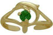 10K Yellow Gold Created Emerald Dolphin Toe Ring Elite Jewels. $99.50. Save 13% Off!