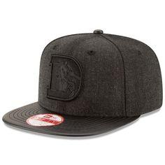 Denver Broncos New Era Leather Match Original Fit 9FIFTY Snapback Adjustable Hat - Heathered Black/Black