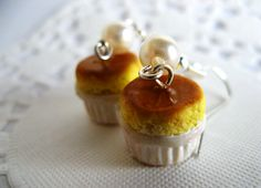 Mini sweet realistic butter egg souffle dangle earring with a pearl, so elegant, so nice! ●ω●      █-♥- SIZE & INFO █  ▧ 1cm diameter(polymer clay par