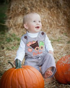 Boys Infant or Toddler Fall Brown & White Gingham Check  Longall Jon Jon Overall with Dumptruck carrying Pumpkins Applique on Etsy, $39.99