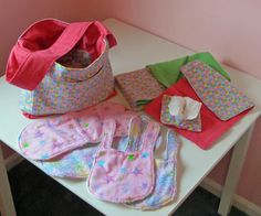 DIY Pretend Play Diaper Bag, Bibs, Burp Cloths, Diapers, Wipe Container & Wipes, Changing Pad & Blanket for Little Girl Pretend Play