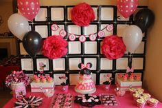 Cool backdrop at a Minnie Mouse party! See more party planning ideas at CatchMyParty.com!