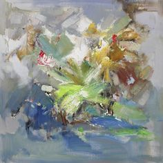 Teals and greens, very popular color pallet right now. This is one part of a 36x36 series at Art Outlet Woodlands.