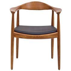 Modern Walnut Solid Real Oak Wood PU Leather Cushion Seat Kennedy Chair With Arm Armchair Dining Chair Hans Wegner Style Hans Wegner, Contemporary Dining Chairs, Modern Chairs, Modern Furniture, Furniture Design, Brown Furniture, Futuristic Furniture, Scandinavian Furniture, Furniture Chairs