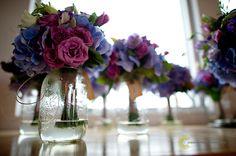 bridal party bouquets in shades of purple - Saltwater Farm Vineyard Wedding