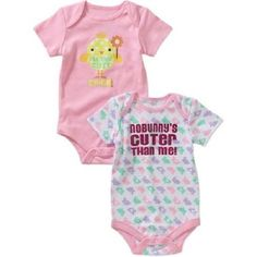 """Baby Girls Easter """"No Bunny's Cuter Than Me""""   2 Pack Onesies BNWT Sz 6-9mo #EverydayHolidayEaster"""