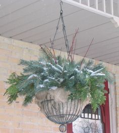 Line the hanging baskets with burlap. Add florist's foam. Layer in the greenery sticking the ends firmly into the florist's foam - starting with cedar boughs that drape over the sides of the baskets, then filling in with pine and spruce boughs. Tuck in bits of red dogwood branches for an extra hit of color.