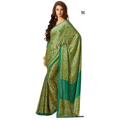 Designer Green & Yellow Satin Printed With Borders Saree-RKAM1029(FH-RKAM1008)