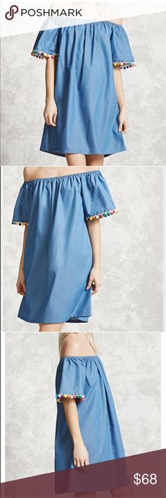 """🚨1 LEFT SMALL🚨CHAMBRAY OFF SHOULDER POMPOM DRESS 💗Condition: New in package. No flaws, no rips, holes or stains. Jean fabric. Colorful pom poms on the sleeves. Measurements: length: 30"""" will be a bit longer if you use it off shoulder. Bust armpit to armpit laying flat 18""""-23"""" (stretches) will fit 36' or more and any size cup.  💗Smoke free home/Pet hair free 💗No trades, No returns. No modeling  💗ALL ITEMS ARE OWNED BY ME. NOT FROM THRIFT STORES 💗All transactions video recorded to…"""