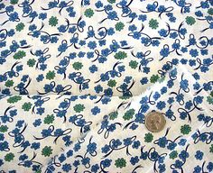 Vintage 1930's Feedsack Cotton Fabric, Blue with Green Flowers and Ribbon on White. $16.95, via Etsy. Victorian Fabric, Feed Sacks, Green Flowers, 1930s, Cotton Fabric, Fabrics, Ribbon, Unique Jewelry, Handmade Gifts