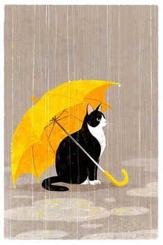 shino's illustration works — 雨宿り © shino All rights reserved. Yellow Umbrella, Umbrella Art, Crazy Cat Lady, Crazy Cats, I Love Cats, Cute Cats, Art And Illustration, Cat Illustrations, Cat Drawing