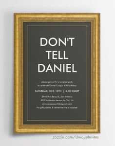 Don't Tell Surprise Party Invitations for birthday parties or any event.