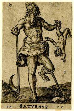 Saturn and its sign, standing in a landscape, with a sickle and a wooden leg, holding a small child from his leg. Engraving